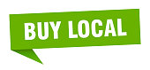buy local speech bubble. buy local sign. buy local banner