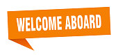 welcome aboard speech bubble. welcome aboard sign. welcome aboard banner