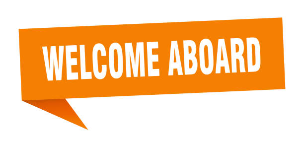 OrigamiSign2orange welcome aboard speech bubble. welcome aboard sign. welcome aboard banner aboard stock illustrations