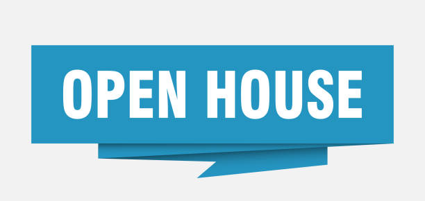 OrigamiSignBlue open house sign. open house paper origami speech bubble. open house tag. open house banner opening stock illustrations