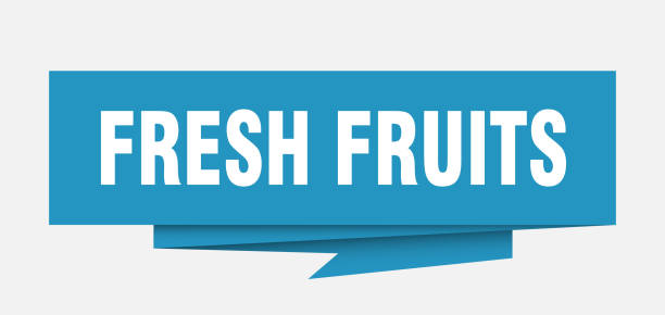 OrigamiSignBlue fresh fruits sign. fresh fruits paper origami speech bubble. fresh fruits tag. fresh fruits banner blue silhouettes stock illustrations