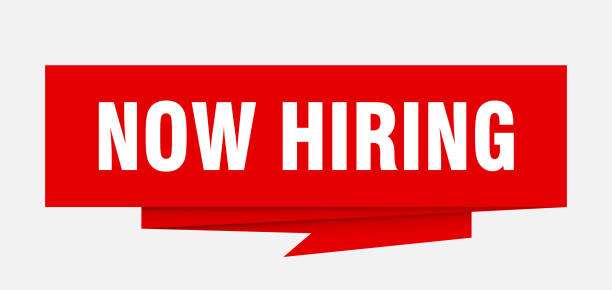 OrigamiSignRed now hiring sign. now hiring paper origami speech bubble. now hiring tag. now hiring banner help wanted sign stock illustrations