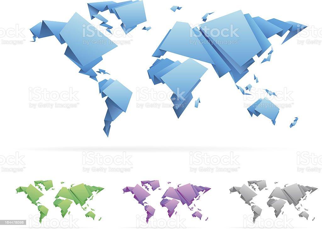 Carte Du Monde Origami.Origami Style Carte Du Mondeillustration Vecteurs Libres De Droits