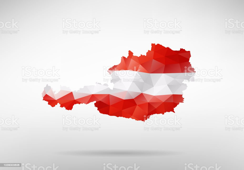 Original Austria map vector illustration with abstract flag background vector art illustration