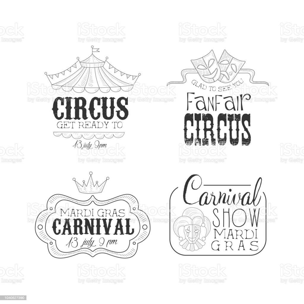Original Schwarzweiss Vektorzeichen Fur Zirkus Und Fasching Karneval