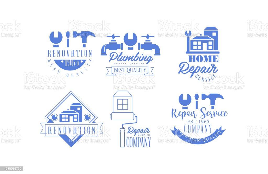 Emblemes De Bleus Originales Pour La Reparation Des Entreprises Services Renovation Plomberie Et
