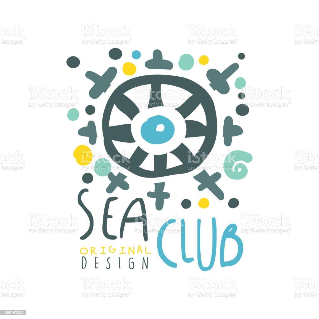 Original colorful sea or yacht club symbol design with abstract original colorful sea or yacht club symbol design with abstract ship steering wheel illustration hand buycottarizona