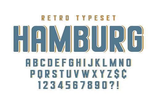 Original condensed alphabet, creative characters set. Vector illustration