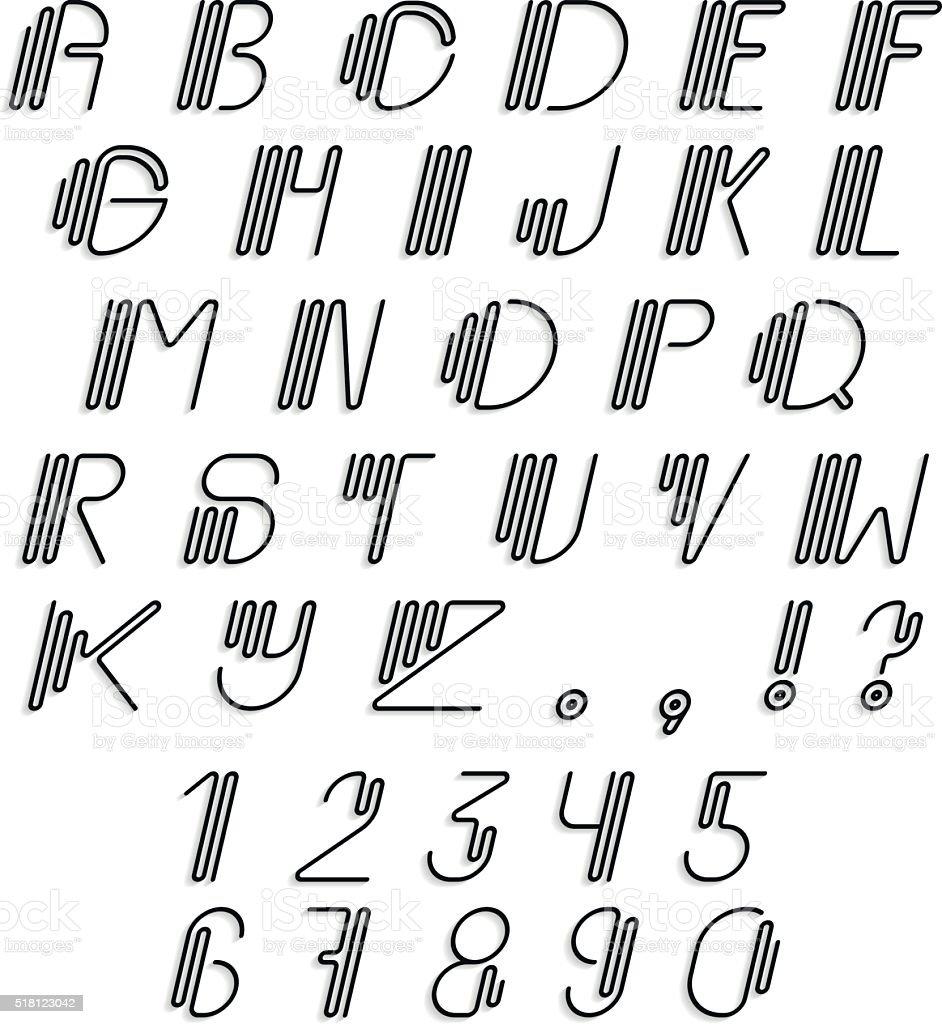 Oryginalne Zaokrąglona Zestaw Alfabet łaciński Stockowe