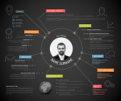 Vector original minimalist cv / resume template - creative version with colorful headings and icons, dark version
