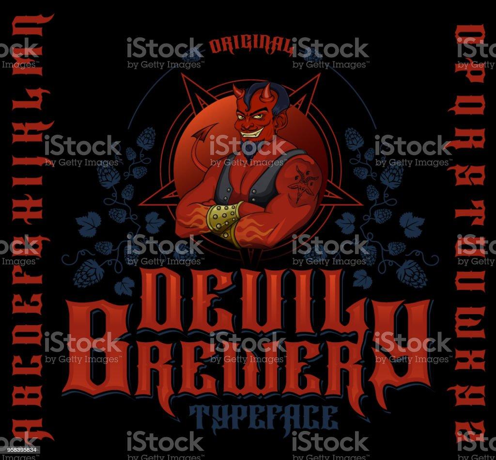 Original devil brewery typeface. vector art illustration