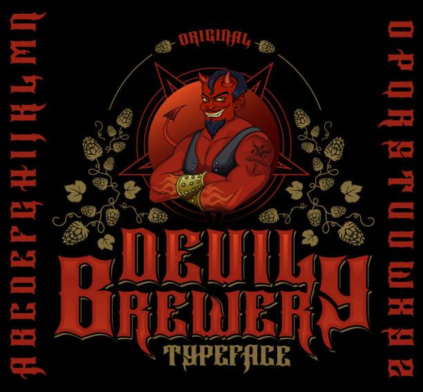 original devil brewery typeface. - jumping stock illustrations