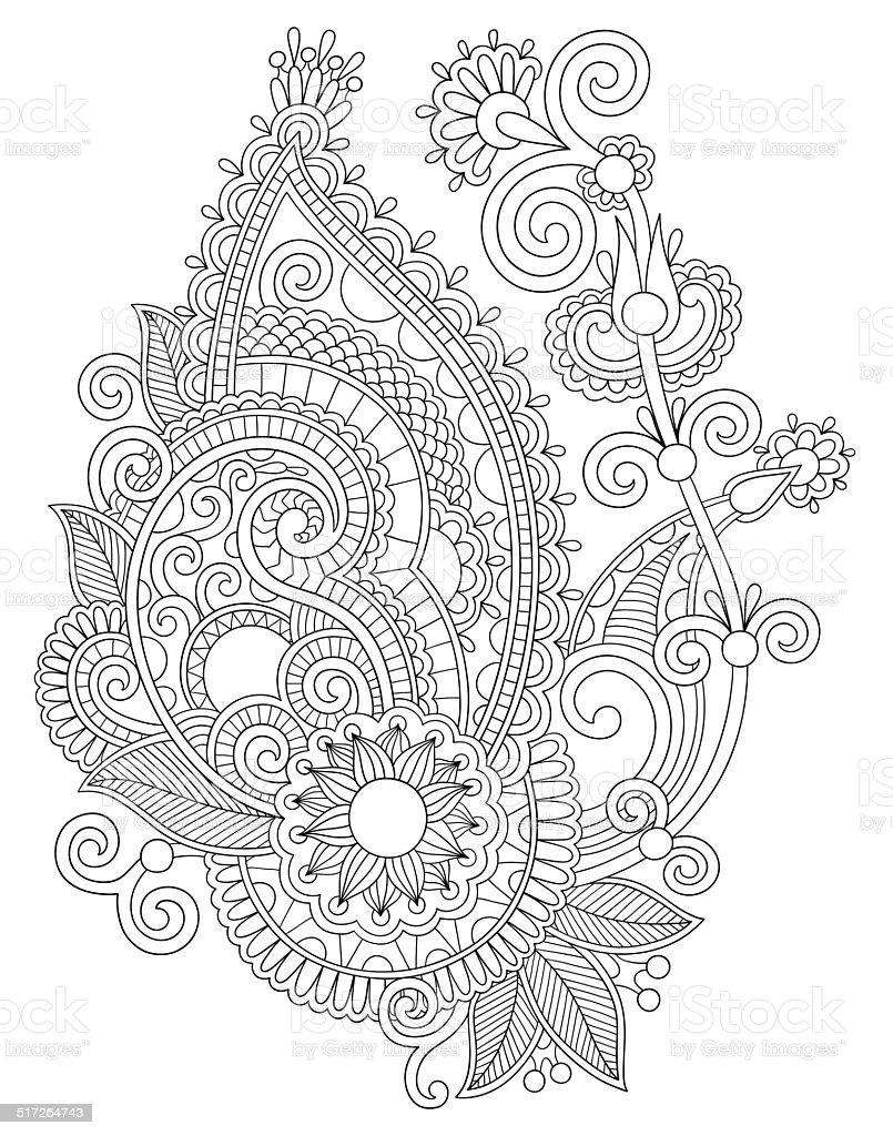 オリジナルのデジタル Draw Line アートの装飾の花デザイン