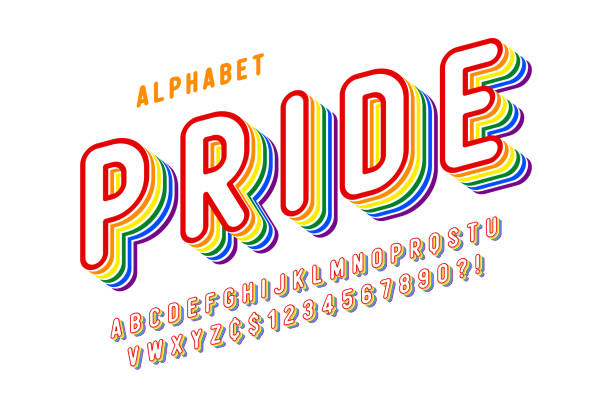 Original display rainbow font design, alphabet, letters Original display rainbow font design, alphabet, letters and numbers. Swatch color control pride stock illustrations