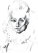 Original drawing, illustration,woman portrait, Hand drawn. Vector