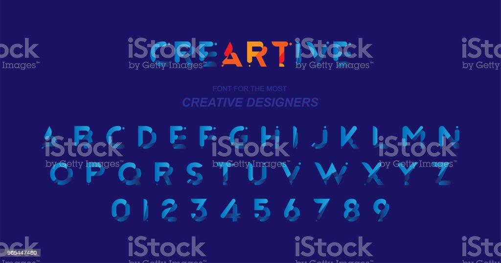 크리에이 티브 디자인 서식 파일에 대 한 블루 컬러에 원래 글꼴. 평면 그림 EPS10 - 로열티 프리 0명 벡터 아트