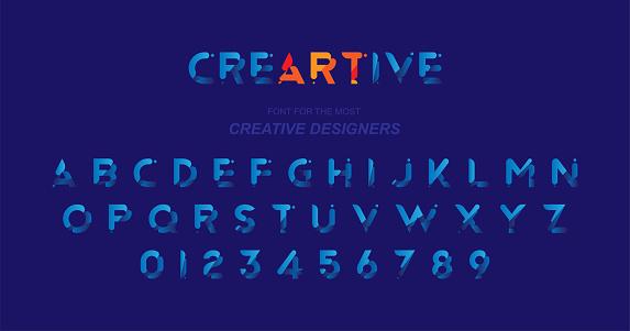 크리에이 티브 디자인 서식 파일에 대 한 블루 컬러에 원래 글꼴 평면 그림 Eps10 0명에 대한 스톡 벡터 아트 및 기타 이미지