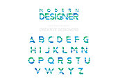 Original font in Green and Blue colour for Creative Design template. Flat illustration EPS10.