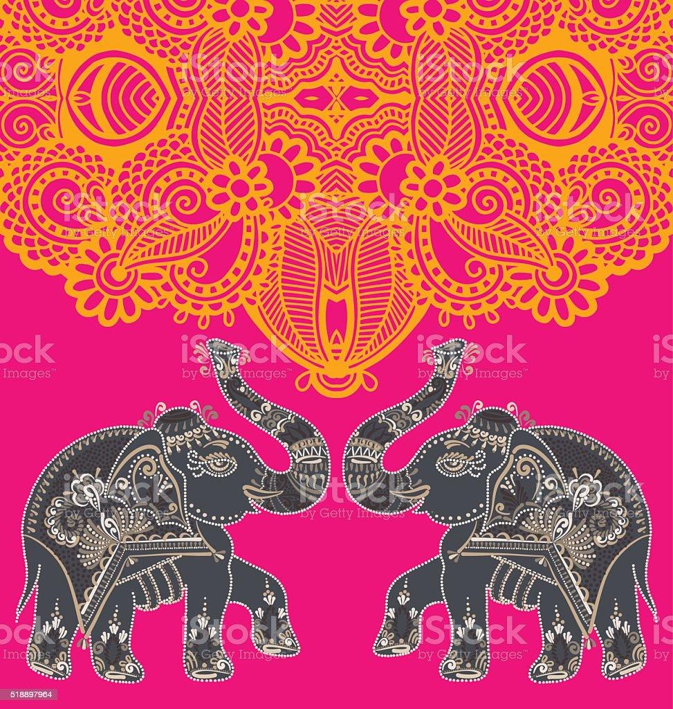 original indische muster mit zwei elefanten f r einladung abdeckung stock vektor art und mehr. Black Bedroom Furniture Sets. Home Design Ideas