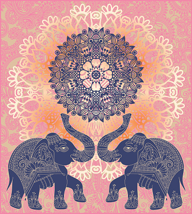 original indian pattern with two elephants for invitation