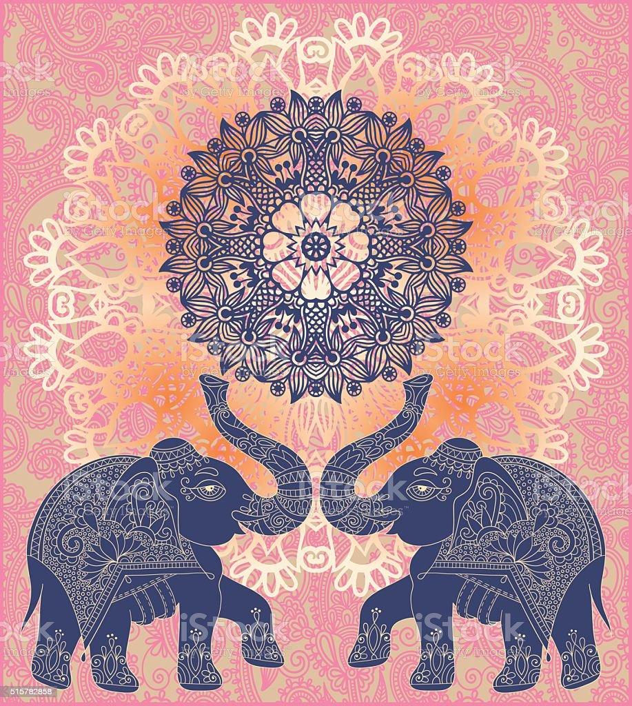 original indian pattern with two elephants for invitation vector art illustration