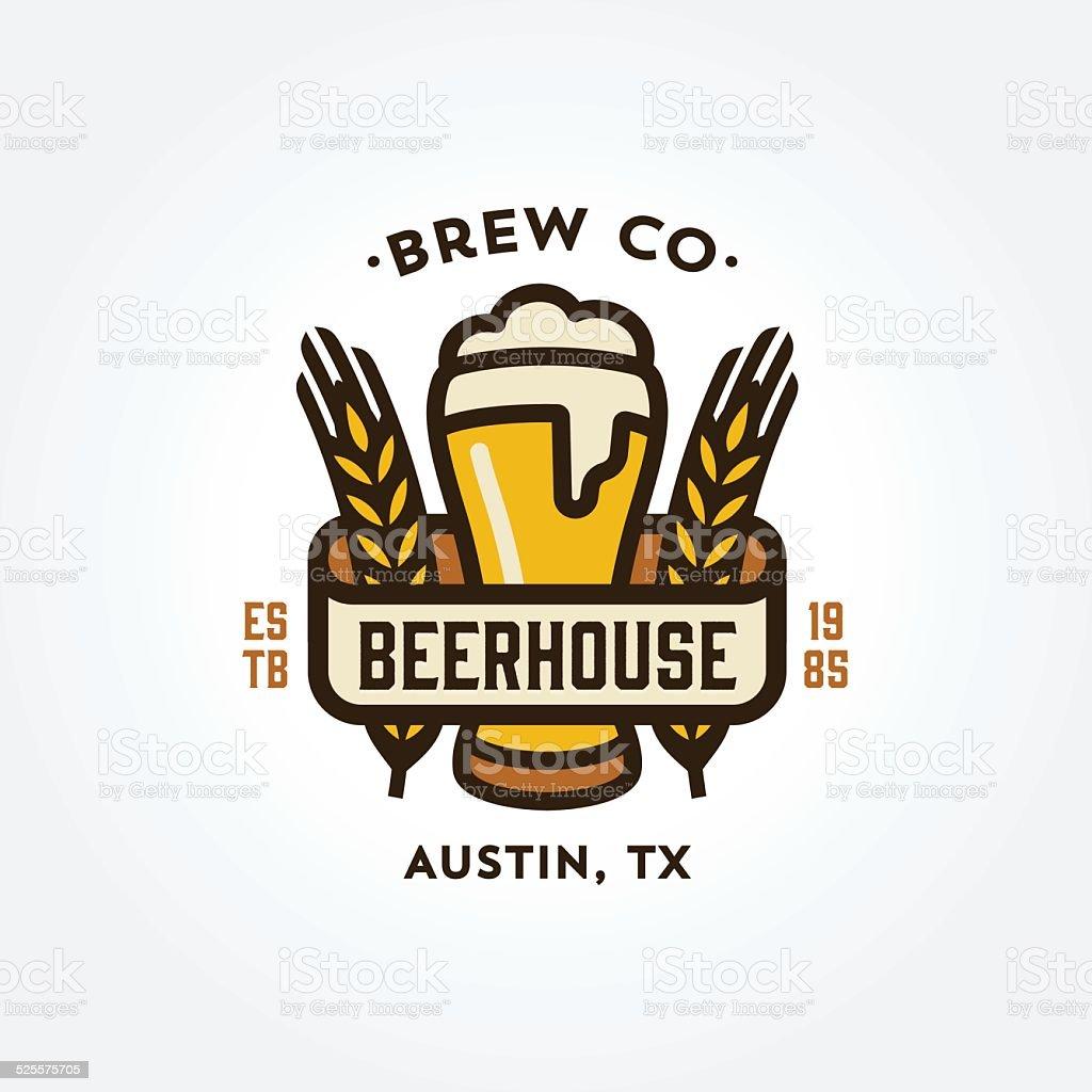 Original line art beer themed logo design vector art illustration