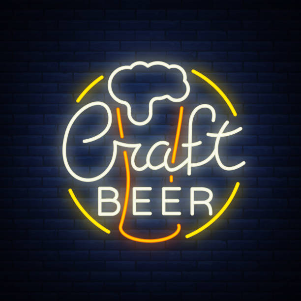 Original logo design is a neon-style beer craft for a beer house, bar pub, brewery brewery tavern, stuffing, pub, restaurant. Night beer advertising, neon glowing bright sign vector art illustration