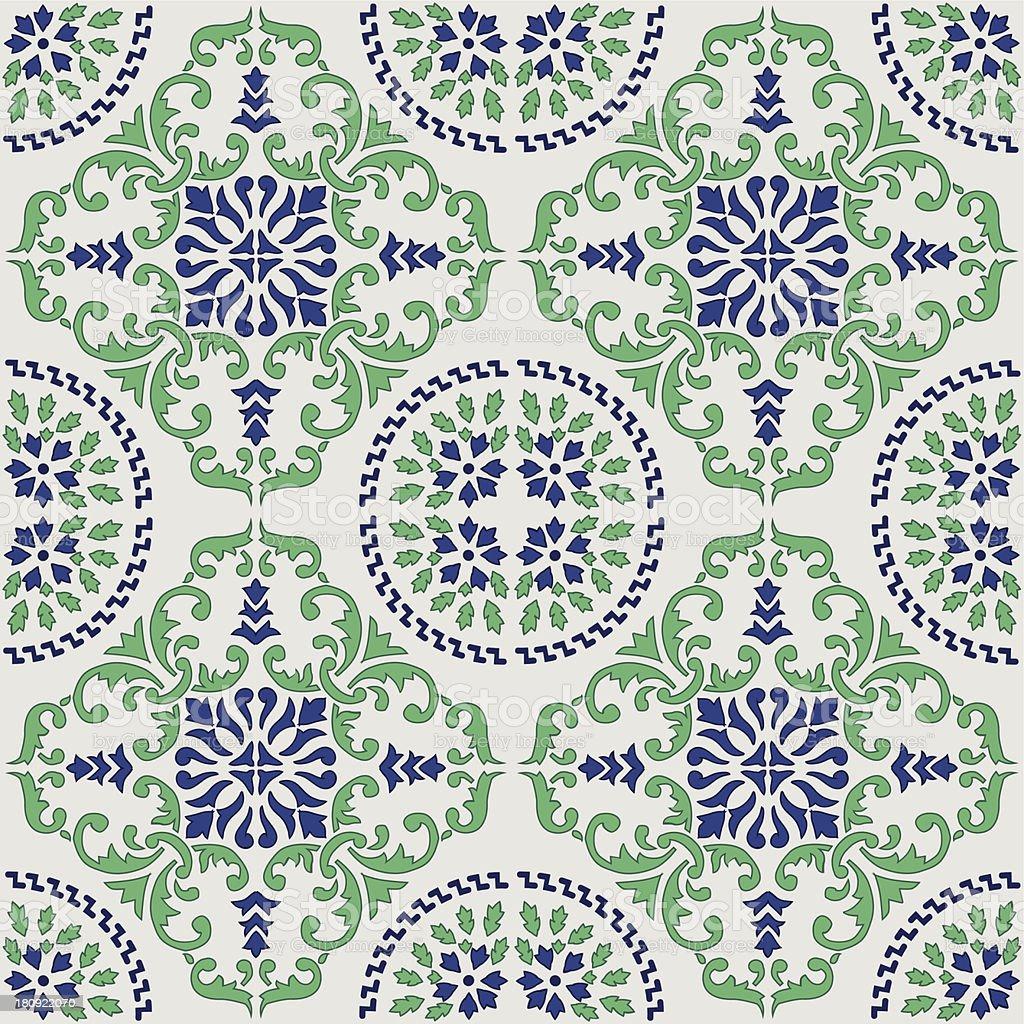 original mediterranean tile from Sicily vector art illustration