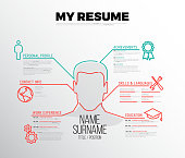 Original minimalist cv / resume template - creative dual red and teal version with big avatar