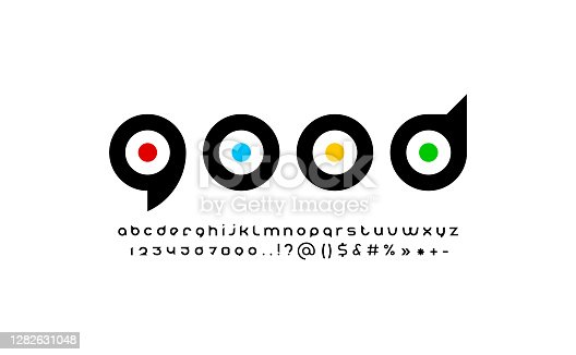 istock Original modern alphabet, rounded black font, trendy letters from A to Z and numbers from 0 to 9, vector illustration 10EPS 1282631048