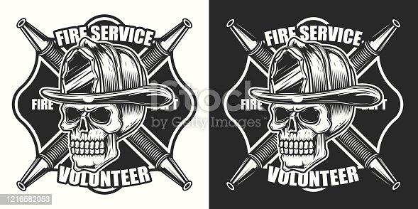 Original monochrome vector illustration in vintage style. Skeleton in the fire helmet. Illustration for print, logo or t-shirt.