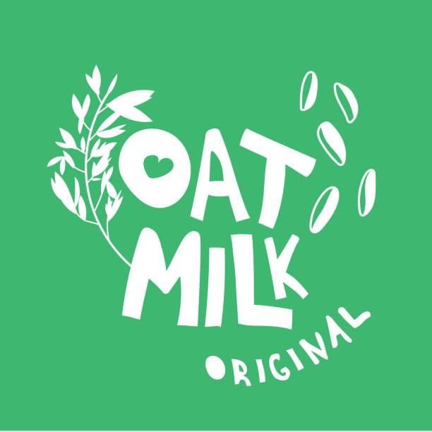 ilustrações de stock, clip art, desenhos animados e ícones de original oat milk hand drawn flat lettering - ilustrações de oats
