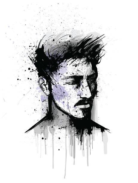 illustrations, cliparts, dessins animés et icônes de portrait original d'un visage d'homme - portrait homme