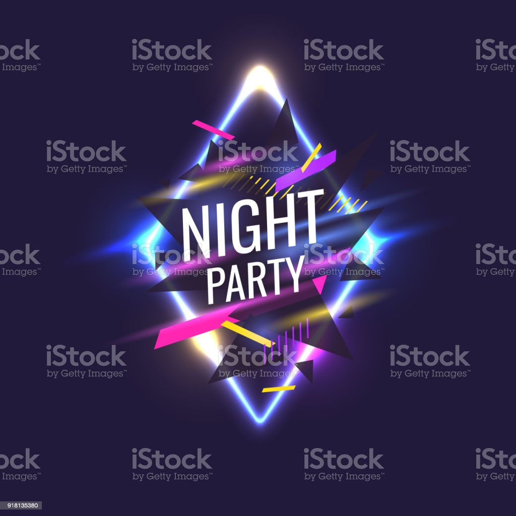 Original poster for night paty. Geometric shapes and neon glow against a dark background