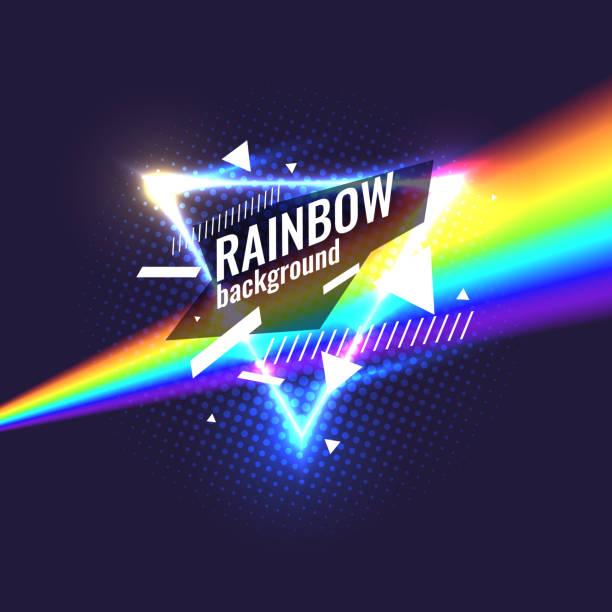 original-poster für nacht paty. geometrische formen und neon glow und regenbogen hintergrund - laservorlagen stock-grafiken, -clipart, -cartoons und -symbole