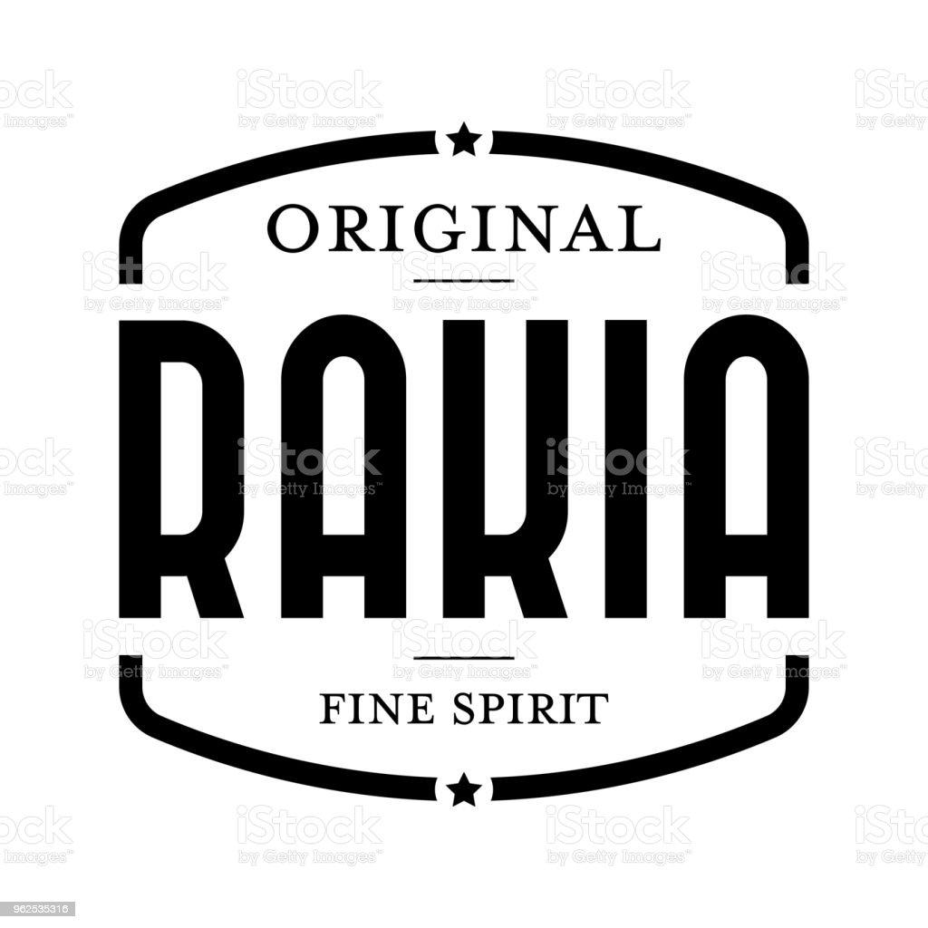 Selo de vintage original Rakia - Vetor de Azul royalty-free