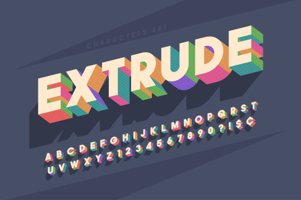 original retro 3d display font design, alphabet, letters - art and craft stock illustrations