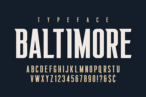 Original retro condensed alphabet, creative characters set