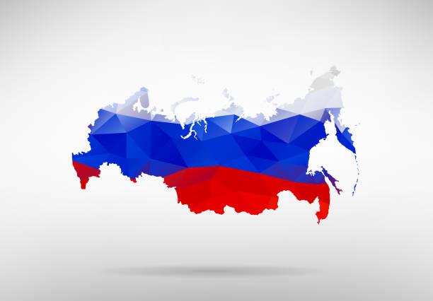 ilustraciones, imágenes clip art, dibujos animados e iconos de stock de original ilustración de vector de mapa ruso con fondo de bandera abstracta - rusia
