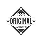 Original stamp or seal. 100% authentic typography print for t-shirt. High quality product icon, badge or label. Vector illustration.