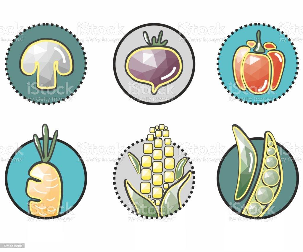 ursprünglichen pflanzlichen Symbole im Kreis: Pilz, Rote Beete, Paprika, Karotten, Mais, Erbsen - Lizenzfrei Abstrakt Vektorgrafik