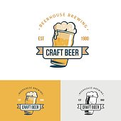 Original vintage craft beer icon. Template for beer house