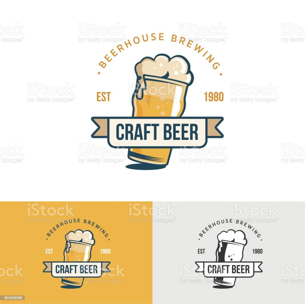 Original vintage craft beer icon. Template for beer house vector art illustration