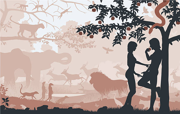 Original sin Editable vector silhouettes of Adam and Eve in the Garden of Eden with all figures as separate objects seven deadly sins stock illustrations
