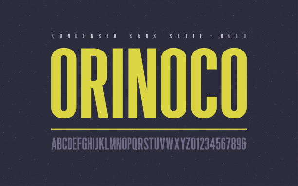 Orinoko condensed bold san serif vector font, alphabet, typeface, uppercase letters and numbers. Orinoko condensed bold san serif vector font, alphabet, typeface, uppercase letters and numbers. confidence stock illustrations