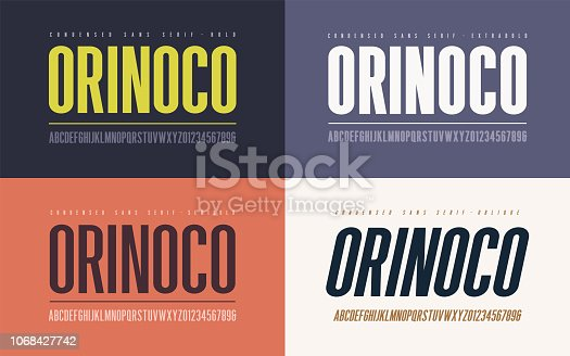 Orinoko condensed bold, semibold, extrabold and oblique san serif vector font, alphabet, typeface, uppercase letters and numbers.