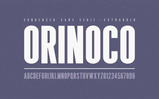 ilustrações de stock, clip art, desenhos animados e ícones de orinoko condensed extrabold san serif vector font, alphabet, typeface, uppercase letters and numbers. - grosso