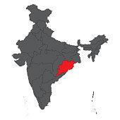 Orissa on gray India map vector