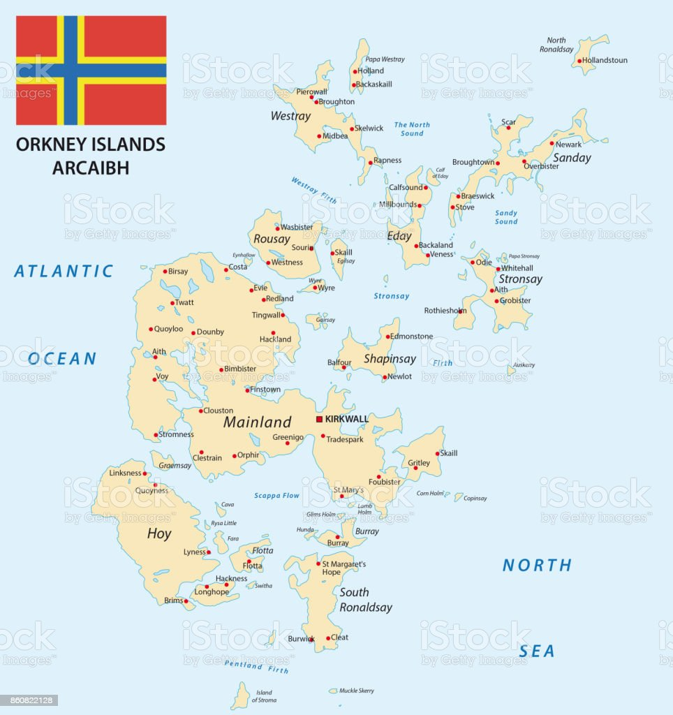 orkney islands map with flag vector art illustration