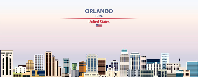 Orlando cityscape on sunset sky background vector illustration with country and city name and with flag of United States